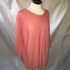 J•JILL coral linen blend longline sweater medium